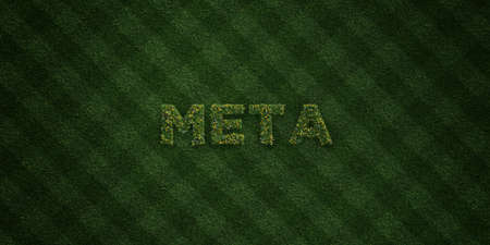 meta: META - fresh Grass letters with flowers and dandelions - 3D rendered royalty free stock image. Can be used for online banner ads and direct mailers.