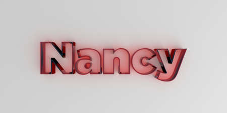 Nancy - Red glass text on white background - 3D rendered royalty free stock image.