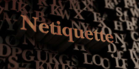 Netiquette - Wooden 3D rendered letters/message.  Can be used for an online banner ad or a print postcard.