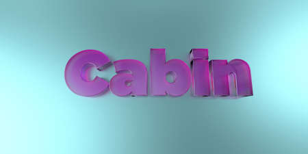 royalty free: Cabin - colorful glass text on vibrant background - 3D rendered royalty free stock image. Stock Photo