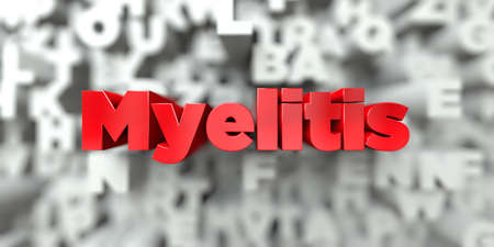 Myelitis -  Red text on typography background - 3D rendered royalty free stock image. This image can be used for an online website banner ad or a print postcard.