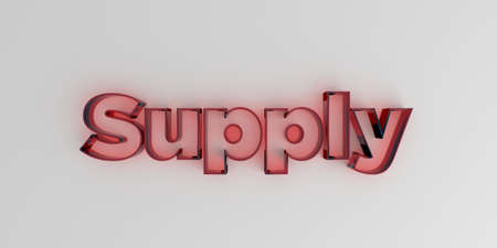 royalty free: Supply - Red glass text on white background - 3D rendered royalty free stock image. Stock Photo