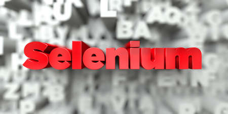 Selenium -  Red text on typography background - 3D rendered royalty free stock image. This image can be used for an online website banner ad or a print postcard. Stock Photo
