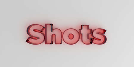 Shots - Red glass text on white background - 3D rendered royalty free stock image. Stock Photo