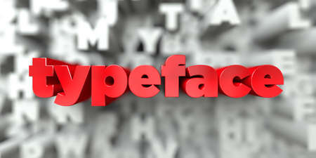 typeface -  Red text on typography background - 3D rendered royalty free stock image. This image can be used for an online website banner ad or a print postcard. Stock Photo