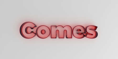 Comes - Red glass text on white background - 3D rendered royalty free stock image.