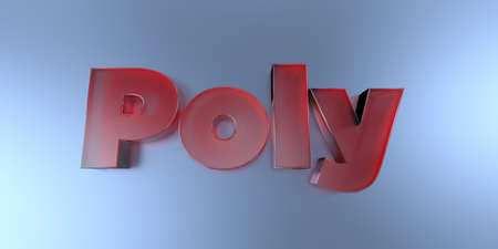 Poly - colorful glass text on vibrant background - 3D rendered royalty free stock image.