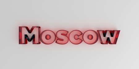 모스크바 - 빨간색 유리 텍스트 흰색 배경에 - 3D 렌더링 로열티 무료 재고 이미지입니다.