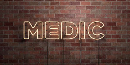 MEDIC - fluorescent Neon tube Sign on brickwork - Front view - 3D rendered royalty free stock picture. Can be used for online banner ads and direct mailers.