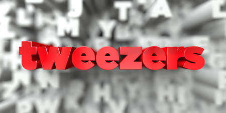tweezers -  Red text on typography background - 3D rendered royalty free stock image. This image can be used for an online website banner ad or a print postcard. Imagens