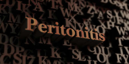 peritonitis: Peritonitis - Wooden 3D rendered lettersmessage.  Can be used for an online banner ad or a print postcard. Stock Photo