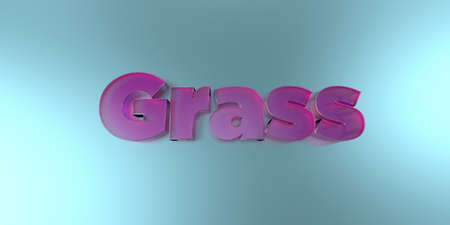Grass - colorful glass text on vibrant background - 3D rendered royalty free stock image.
