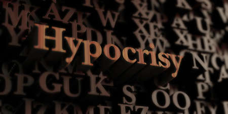 hypocrisy: Hypocrisy - Wooden 3D rendered lettersmessage.  Can be used for an online banner ad or a print postcard.