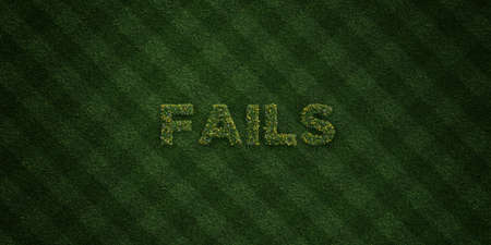 fails: FAILS - fresh Grass letters with flowers and dandelions - 3D rendered royalty free stock image. Can be used for online banner ads and direct mailers.