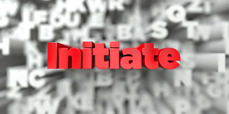 Initiate -  Red text on typography background - 3D rendered royalty free stock image. This image can be used for an online website banner ad or a print postcard. Stock Photo