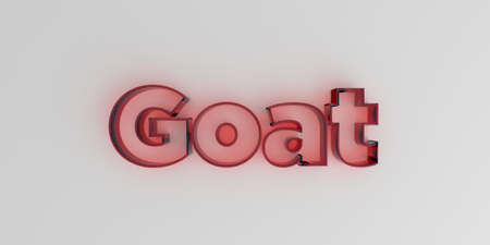 royalty free: Goat - Red glass text on white background - 3D rendered royalty free stock image. Stock Photo