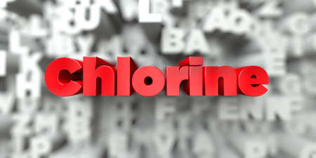 Chlorine -  Red text on typography background - 3D rendered royalty free stock image. This image can be used for an online website banner ad or a print postcard.