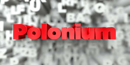 polonium: Polonium -  Red text on typography background - 3D rendered royalty free stock image. This image can be used for an online website banner ad or a print postcard.