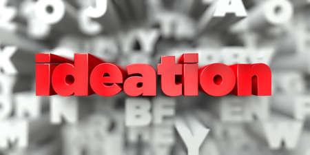 Ideazione - Testo rosso su sfondo tipografia - 3D ha reso l'immagine di riserva libera royalty. Questa immagine può essere utilizzata per un banner pubblicitario di un sito Web online o una cartolina di stampa. Archivio Fotografico - 72671344