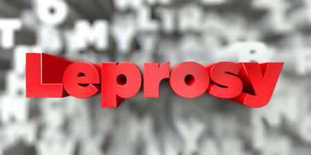 leprosy: Leprosy -  Red text on typography background - 3D rendered royalty free stock image. This image can be used for an online website banner ad or a print postcard.
