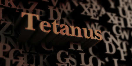 tetanus: Tetanus - Wooden 3D rendered lettersmessage.  Can be used for an online banner ad or a print postcard. Stock Photo