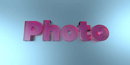 Photo - colorful glass text on vibrant background - 3D rendered royalty free stock image.