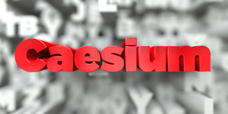 Caesium -  Red text on typography background - 3D rendered royalty free stock image. This image can be used for an online website banner ad or a print postcard.