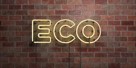 ECO - fluorescent Neon tube Sign on brickwork - Front view - 3D rendered royalty free stock picture. Can be used for online banner ads and direct mailers.