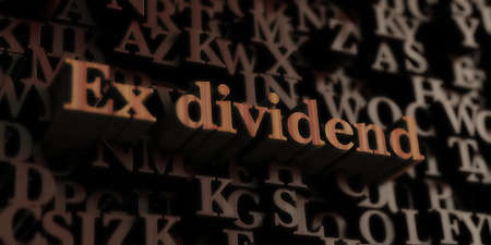 Ex Dividend - Wooden 3D rendered letters/message.  Can be used for an online banner ad or a print postcard. Foto de archivo