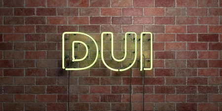 DUI - fluorescent Neon tube Sign on brickwork - Front view - 3D rendered royalty free stock picture. Can be used for online banner ads and direct mailers.