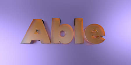 Able - colorful glass text on vibrant background - 3D rendered royalty free stock image.