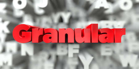 Granular -  Red text on typography background - 3D rendered royalty free stock image. This image can be used for an online website banner ad or a print postcard. Stok Fotoğraf
