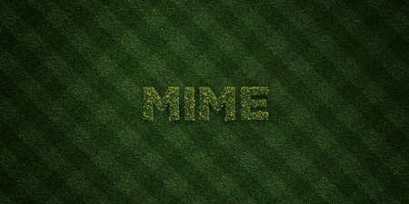 mime: MIME - fresh Grass letters with flowers and dandelions - 3D rendered royalty free stock image. Can be used for online banner ads and direct mailers. Stock Photo