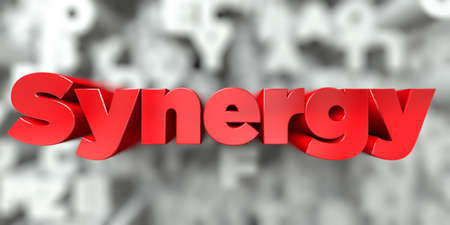 Synergy -  Red text on typography background - 3D rendered royalty free stock image. This image can be used for an online website banner ad or a print postcard.
