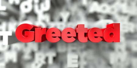 Greeted -  Red text on typography background - 3D rendered royalty free stock image. This image can be used for an online website banner ad or a print postcard. Reklamní fotografie