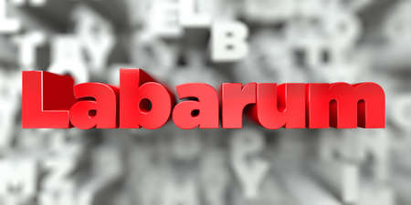 Labarum -  Red text on typography background - 3D rendered royalty free stock image. This image can be used for an online website banner ad or a print postcard.