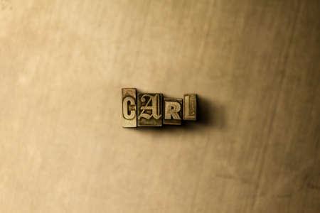 カール - グランジ ビンテージのクローズ アップは、金属の背景上の単語をタイプセットします。ロイヤリティ フリーのストック イラスト素材。 オンライン バナー広告やダイレクト メールに使用できます。 写真素材 - 72575678