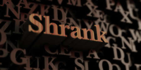 Shrank - Wooden 3D rendered lettersmessage.  Can be used for an online banner ad or a print postcard.