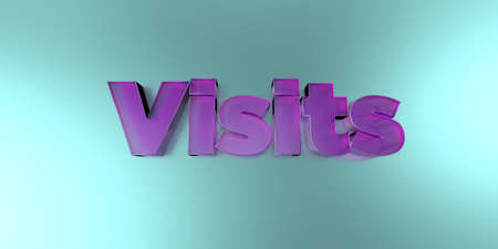 Visits - colorful glass text on vibrant background - 3D rendered royalty free stock image.