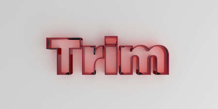 white trim: Trim - Red glass text on white background - 3D rendered royalty free stock image. Stock Photo