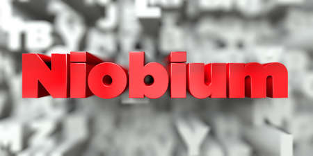 niobium: Niobium -  Red text on typography background - 3D rendered royalty free stock image. This image can be used for an online website banner ad or a print postcard. Stock Photo