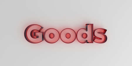 Goods - Red glass text on white background - 3D rendered royalty free stock image. Stock Photo