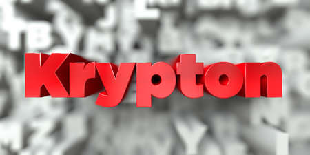 Krypton -  Red text on typography background - 3D rendered royalty free stock image. This image can be used for an online website banner ad or a print postcard.
