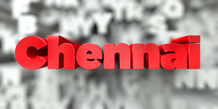 Chennai -  Red text on typography background - 3D rendered royalty free stock image. This image can be used for an online website banner ad or a print postcard.