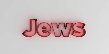 jews: Jews - Red glass text on white background - 3D rendered royalty free stock image. Stock Photo