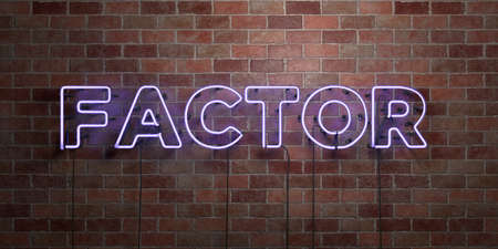 FACTOR - fluorescent Neon tube Sign on brickwork - Front view - 3D rendered royalty free stock picture. Can be used for online banner ads and direct mailers.
