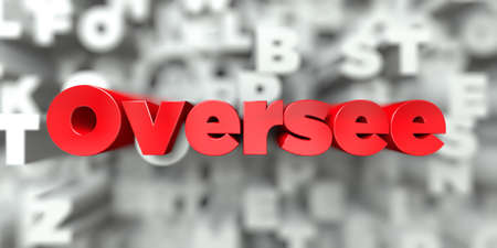 Oversee -  Red text on typography background - 3D rendered royalty free stock image. This image can be used for an online website banner ad or a print postcard.