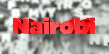 Nairobi -  Red text on typography background - 3D rendered royalty free stock image. This image can be used for an online website banner ad or a print postcard.