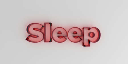 Sleep - Red glass text on white background - 3D rendered royalty free stock image.
