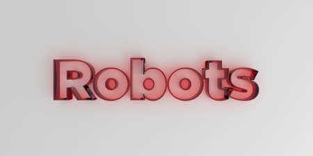 Robots - Red glass text on white background - 3D rendered royalty free stock image. Stock Photo